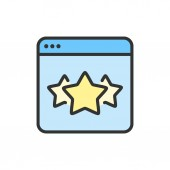 Vector stars in browser best choice website feedback flat color line icon
