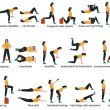 Set of glute exercises and workouts. Flat vector i...