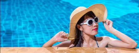 Portrait beautiful asian woman bikini swimming poo...