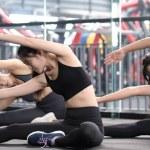 Group of sporty young asian women in sportswear wa...