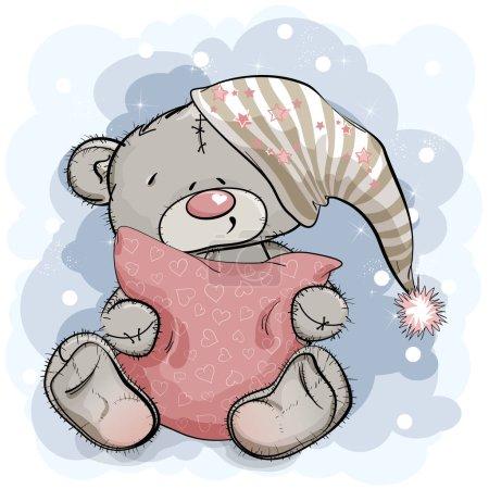 Illustration pour Joyeux ours en peluche étreignant un oreiller. Illustration vectorielle - image libre de droit