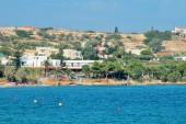 """Постер, картина, фотообои """"Пляжи и отели вдоль побережья. Курортный город на Средиземном море, вид на пляж и отели на пляже с моря. Яркое солнце, ясное синее море, высокая контрастность, Rete"""""""