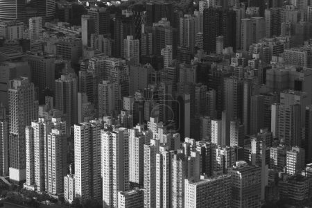 Photo for Aerial view of Hong Kong city under sunset - Royalty Free Image