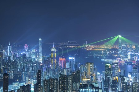 Photo for Skyline of Hong Kng city at night - Royalty Free Image