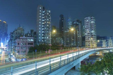 Photo for Hong Kong , China - January 26, 2014 : Highway in midtown of Hong Kong city, China. - Royalty Free Image