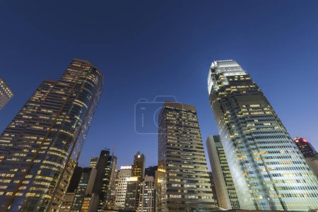 Photo for Skyline of downtown of Hong Kong city at dusk - Royalty Free Image