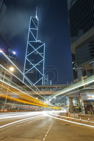 Photo for Night Traffic in Hong Kong City - Royalty Free Image