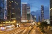 Central district of Hong Kong city at dusk