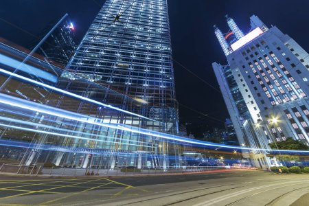 Photo for Car Traffic in central district of Hong Kong city at night - Royalty Free Image