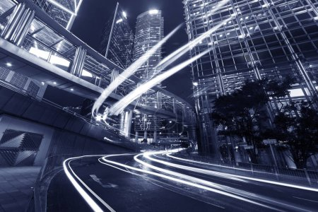 Photo for Night traffic in midtown of Hong Kong city - Royalty Free Image