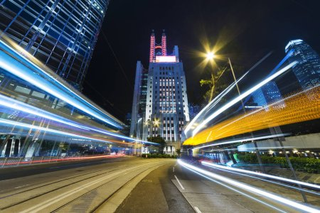 Photo for Traffic in midtown of Hong Kong city at night - Royalty Free Image