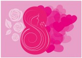 8 march Women's Day card with flowers and hearts  - vector