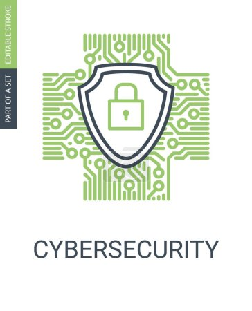 Photo for Cybersecurity Icon With Shield And Protection Lock in Outline Style With Editable Stroke - Royalty Free Image