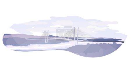 Illustration pour Le Zolotoy ou Golden Bridge est un pont à haubans traversant le rog ou la corne d'or de Zolotoy à Vladivostok, en Russie. - image libre de droit