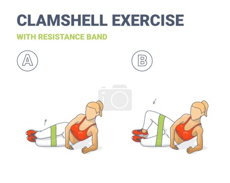 Clamshell with Resistance Band Sport exersice. Colorful Concept of Girl Doing Hip Abduction With Elastic Loop Exercise.