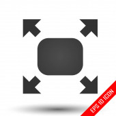 Fullscreen sign icon Simple flat logo of fullscreen sign on white background Vector illustration
