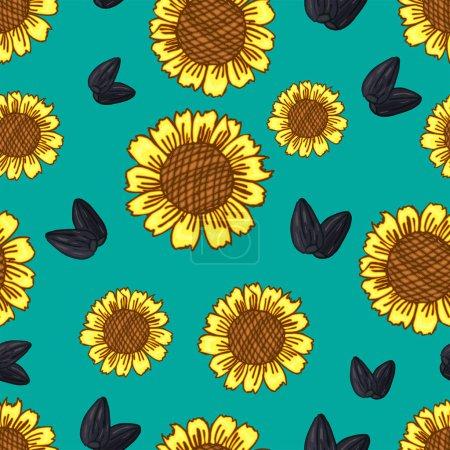 Photo pour Coloré Modèle abstrait sans couture dessiné à la main de tournesols fleurs et graines de fond - image libre de droit