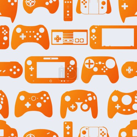 Photo for Video game controller gamepad background Gadgets and devices seamless pattern - Royalty Free Image