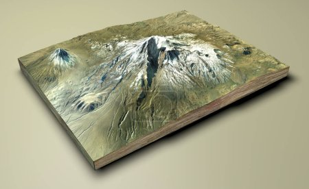 Vista aérea del Monte Ararat, Agr Dag. La montaña más alta de Turquía, cerca de la ciudad de Igdr. El lugar de descanso del Arca de Noé. renderizado 3d. Elemento de esta imagen son proporcionados por la NASA