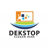 Colorful monitor dekstop logo design template inspiration