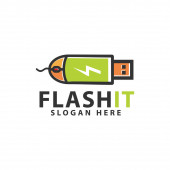 Flash disk mouse computer logo design template inspiration
