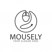 Line mouse logo design template inspiration