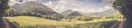 Photo for Panorama of mountains, sky and meadow in Bavaria near Bad Reichenhall, Germany - Royalty Free Image