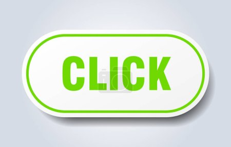 Illustration for Click sign. click rounded green sticker. click - Royalty Free Image