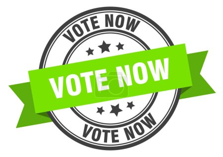 Illustration for Vote now label. vote now green band sign. vote now - Royalty Free Image
