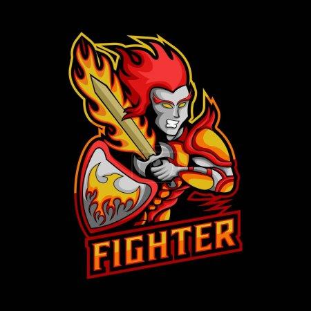 illustration vectorielle de mascotte de chasse épée feu pour votre entreprise ou marque