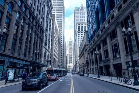 central street in Chicago with traditional buildings, USA