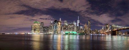 Skyline of Manhattan from Brooklyn, night view.