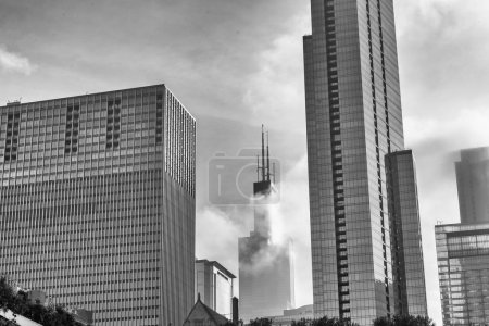 Photo for Skyscrapers in the fog, Chicago - Royalty Free Image