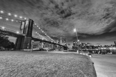 Photo for Brooklyn Bridge by night. - Royalty Free Image