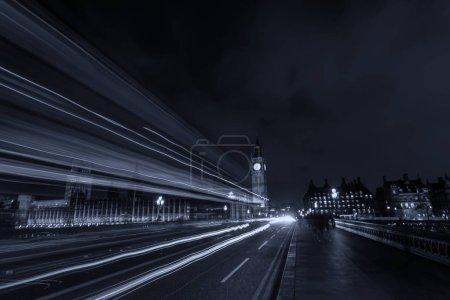 Photo for Night traffic on Westminster Bridge, long exposure - Royalty Free Image