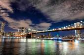 Skyline of Manhattan and Brooklyn bridge, night view.