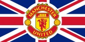 Manchester United emblem on the Union Jack
