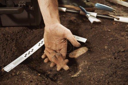 Photo pour Fier découvreur montrant sa découverte d'objets votifs rares sur le site archéologique - image libre de droit