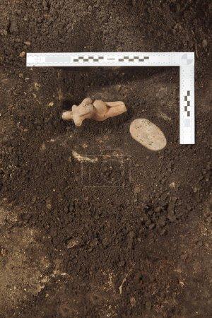 Photo pour Archéologie - exploration du lieu et documentation des découvertes lors des travaux d'excavation - image libre de droit