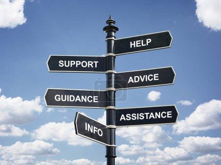 Photo pour Besoin d'aide, soutien, conseils, orientation, assistance et concept d'affaires panneau info carrefour - image libre de droit