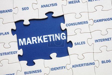Photo for Business marketing solution jigsaw puzzle - Royalty Free Image