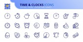 Simple set of outline icons about time and clocks