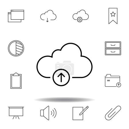Cloud storage upload outline icon. Detailed set of...