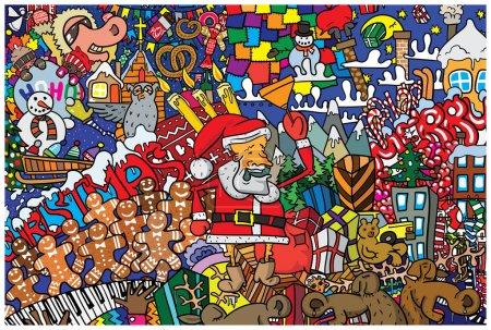 Great Christmas card with Santa Claus, reindeer an...