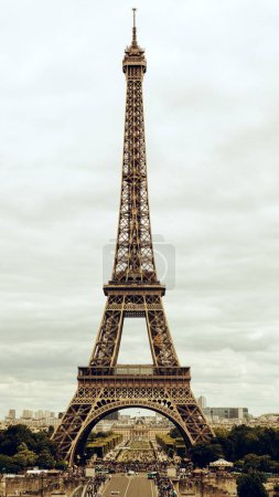 Photo for Paris Eiffel Tower and river Seine at sunset in Paris, France. Eiffel Tower is one of the most iconic landmarks of Paris - Royalty Free Image