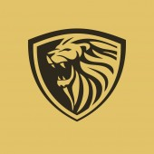 lion shield vector logo design inspiration 02 - The lion is a muscular deep-chested cat with a short rounded head a reduced neck and round ears Its fur varies in colour from light buff to silvery grey yellowish red and dark brown