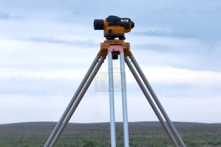 Photo for Old level tool used in archaeology and geology in open space - Royalty Free Image