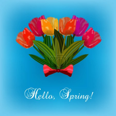 Illustration for Bouquet of spring bright tulip flowers with red bow on blurred blue background. Hello spring card. - Royalty Free Image