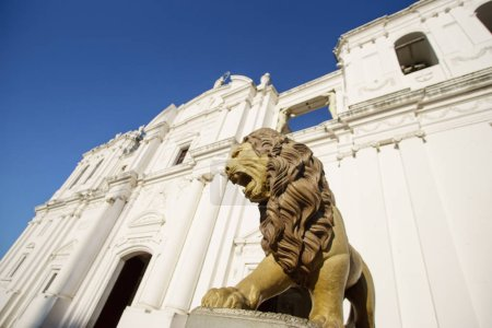 Catholic church in nicaragua with lion statue in f...