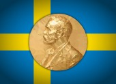 Gold Medal Nobel prize graphics  elaboration to polygons with Swedish flag